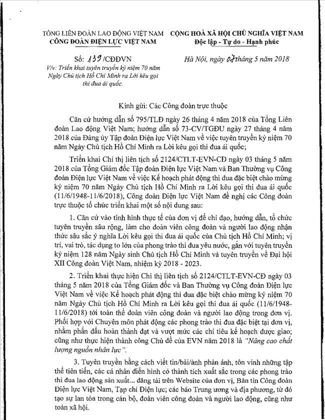 Đề Cương Tuyên Truyền Kỷ niệm 70 năm Ngày Chủ Tịch Hồ Chí Minh ra Lời kêu gọi thi đua ái quốc (11/6/1948-11/6/2018)