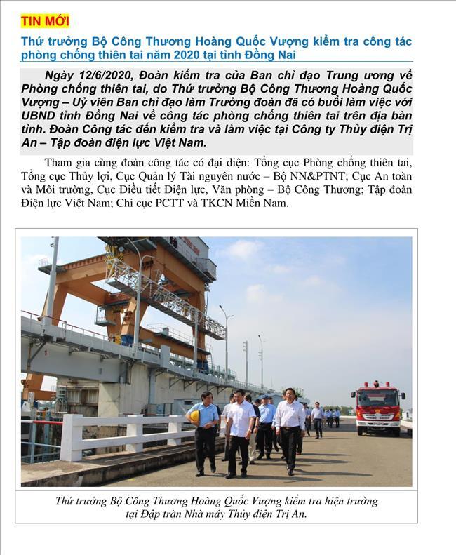 Thứ trưởng Bộ Công Thương Hoàng Quốc Vượng kiểm tra công tác phòng chống thiên tai tại tỉnh Đồng Nai